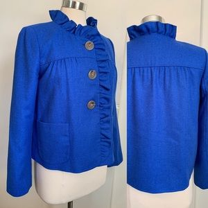 J Crew wool Blazer Blue Ruffle Collar Sz 8 Jacket